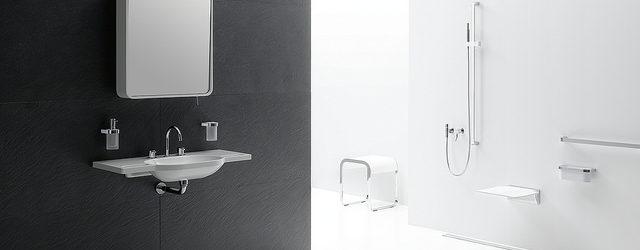 ein modernes, altersgerechtes Bad in schwarz-weiß