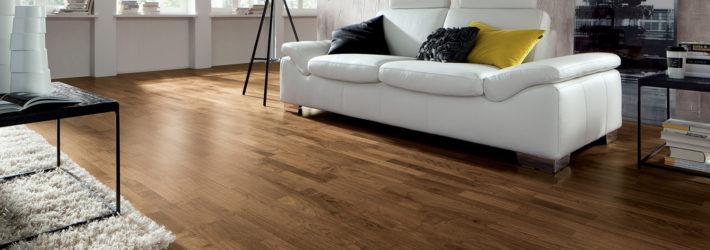 Ein modernes Wohnzimmer mit einem dunklen Holzfußboden, der entweder Parkett oder Laminat sein könnte.