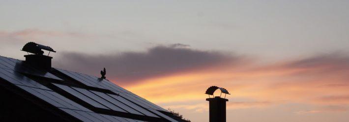 Man sieht ein Stück eines Daches, auf dem Solarzellen befestigt sind. Im Hintergrund des vielleicht energieautarken Hauses sieht man den vom Sonnenaufgang eingefärbten Himmel.