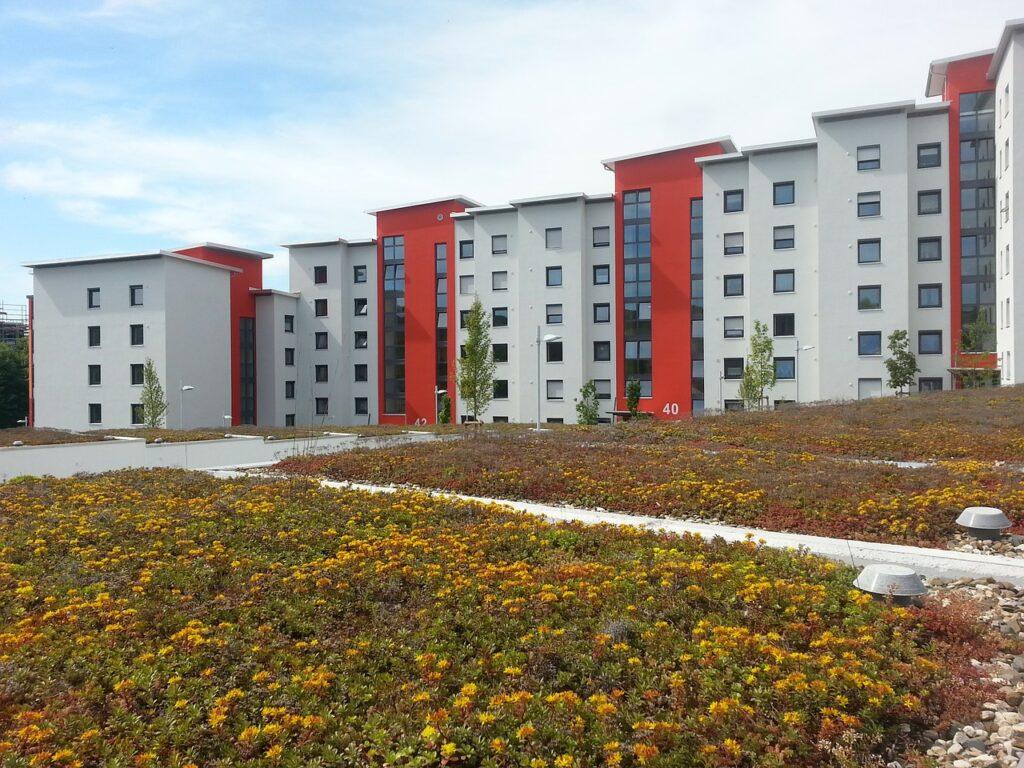 Eine Reihe von Mehrfamilienwohnhäusern mit Flachdächern.