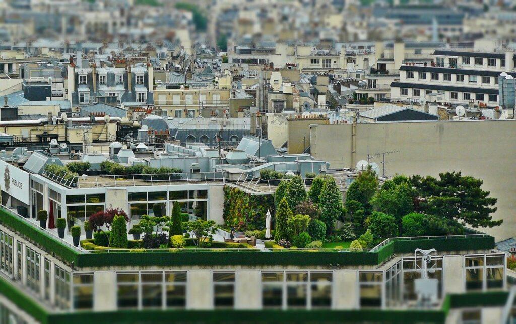 Auf einem Gebäude in einer großen Stadt sieht man eine intensive Dachbegrünung mit Bäumen und Sträuchern.