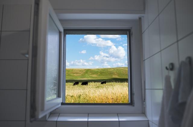 Ein geööfnetes Badfenster führt hinaus auf eine Weide mit Kühen.